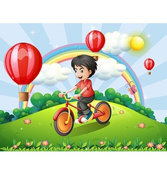 A boy biking at the hilltop with a rainbow and vector