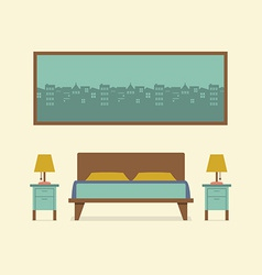 Flat design bedroom interior vector