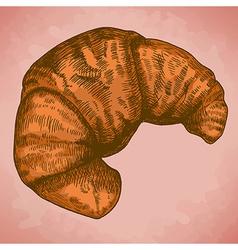 Engraving croissant retro vector
