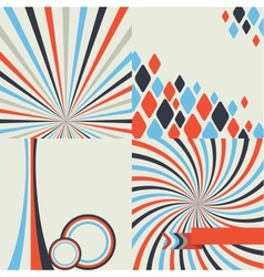 Abstract retro style geometric background set vector