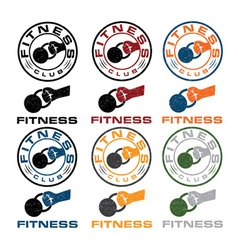 Kettlebell in the hand fitness emblems vector