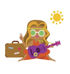 Hippie girl with guitar and suitcase vector