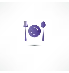 Fork and spoon and plate icon vector
