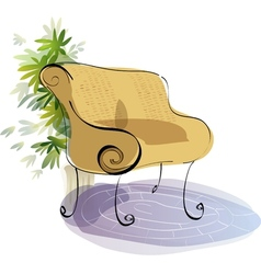 Stylized bench sketch vector