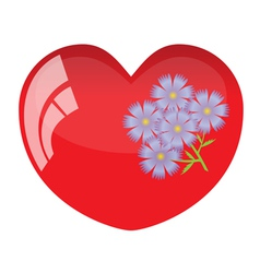 Heart and flower vector