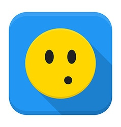 Surprised yellow smile app icon with long shadow vector