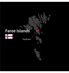 Detailed map of faroe islands and capital city vector