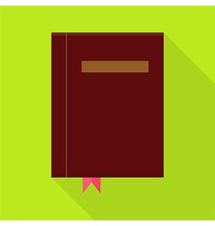 Flat book with bookmark and long shadow vector