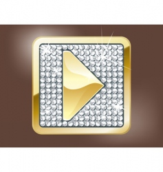 Gold play button vector