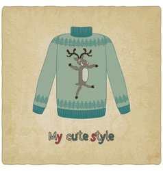 Cute sweater old background vector
