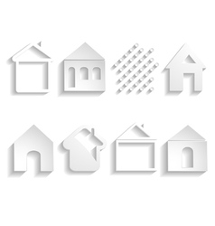 White paper house icons vector