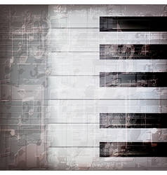 Abstract grunge gray music background with piano vector