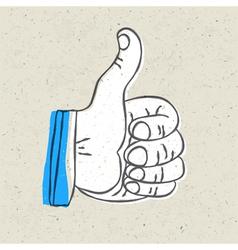 Retro thumb up symbol vector