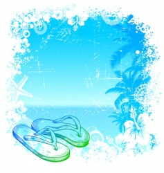 Tropical background with beach slippers vector