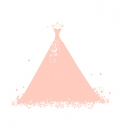 Beautiful dress pink on hangers vector