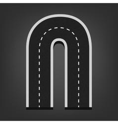 N letter road font vector