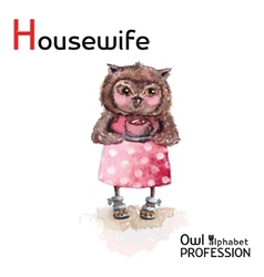 Alphabet professions owl letter h - housewife vector