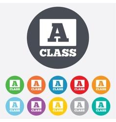 A-class sign icon premium level symbol vector