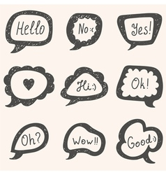 Set of speech bubbles hand drawn bubbles vector