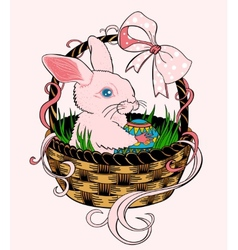 Pink easter bunny sitting in a wicker basket vector