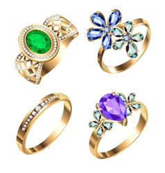 Ring set with precious stones vector