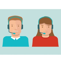 Flat call center operators vector