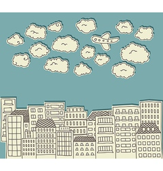 Urban paper cutout doodle with airplane vector