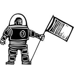 Woodcut astronaut with flag vector