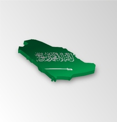 Three dimensional map of saudi arabia in flag colo vector