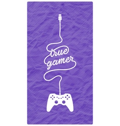 Gamepad with cable in the shape of a message vector