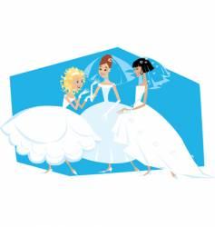 Three brides vector