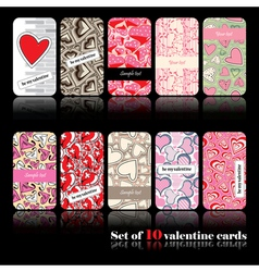 Set of ten valentine cards vector
