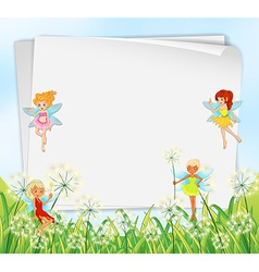 Empty paper templates with fairies vector