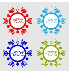 Snowflakes sale tags vector