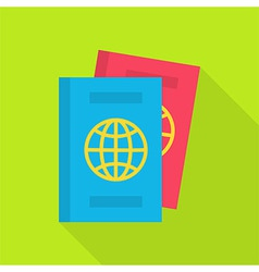 Flat passport with long shadow vector