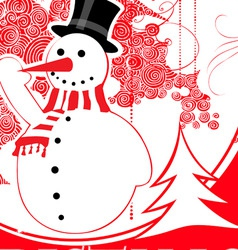 Christmas snowman background vector