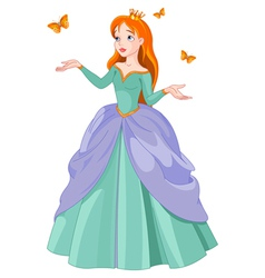 Princess and butterflies vector