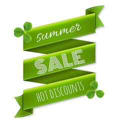Summer sale ribbon banner with leaves vector