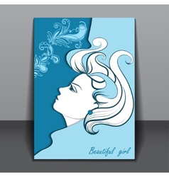 Beautiful girl in profile with shadow vector