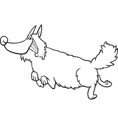 Cartoon shaggy dog for coloring book vector