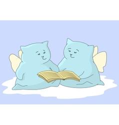 Cartoon animals angels read book vector