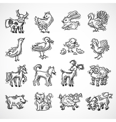 Farm animals sketch vector