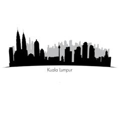 Kuala lumpur skyline black silhouette vector