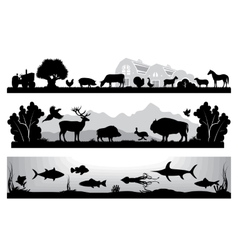 Set of black and white landscapes wildlife farm vector