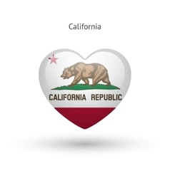 Love california state symbol heart flag icon vector