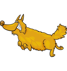 Happy shaggy running dog vector