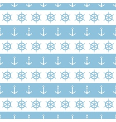 Nautical stripes anchors and wheels seamless vector