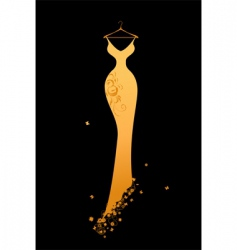 Evening dress golden on hangers vector