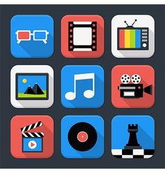 Multimedia video and audio themed squared app icon vector