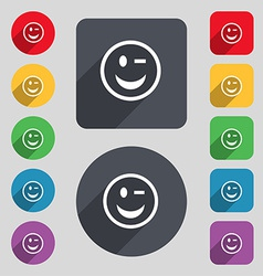 Winking face icon sign a set of 12 colored buttons vector